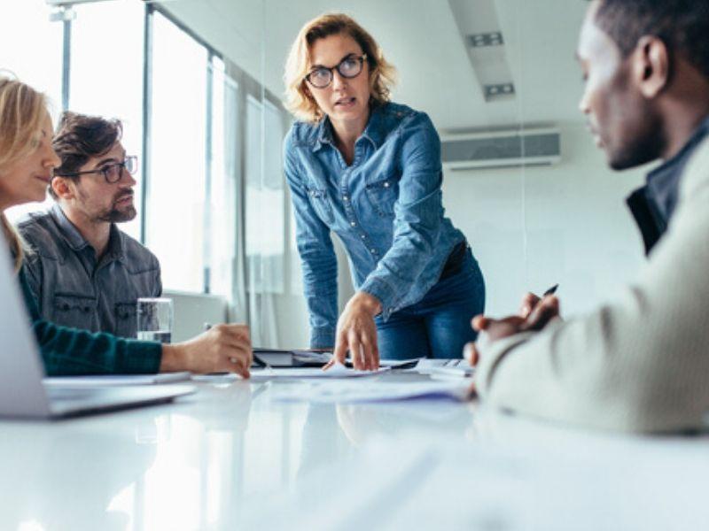 woman executive presiding over a meeting
